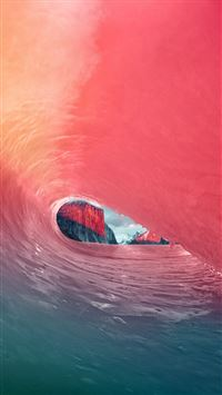 Apple Osx Yosemite Wave Red Rainbow Sea Blue iPhone 6(s)~8(s) wallpaper
