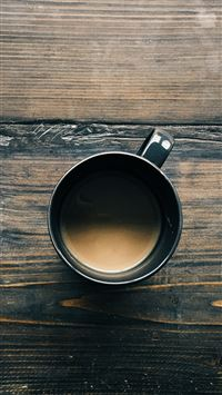 Coffee Cup On Wooden Table iPhone 6(s)~8(s) wallpaper