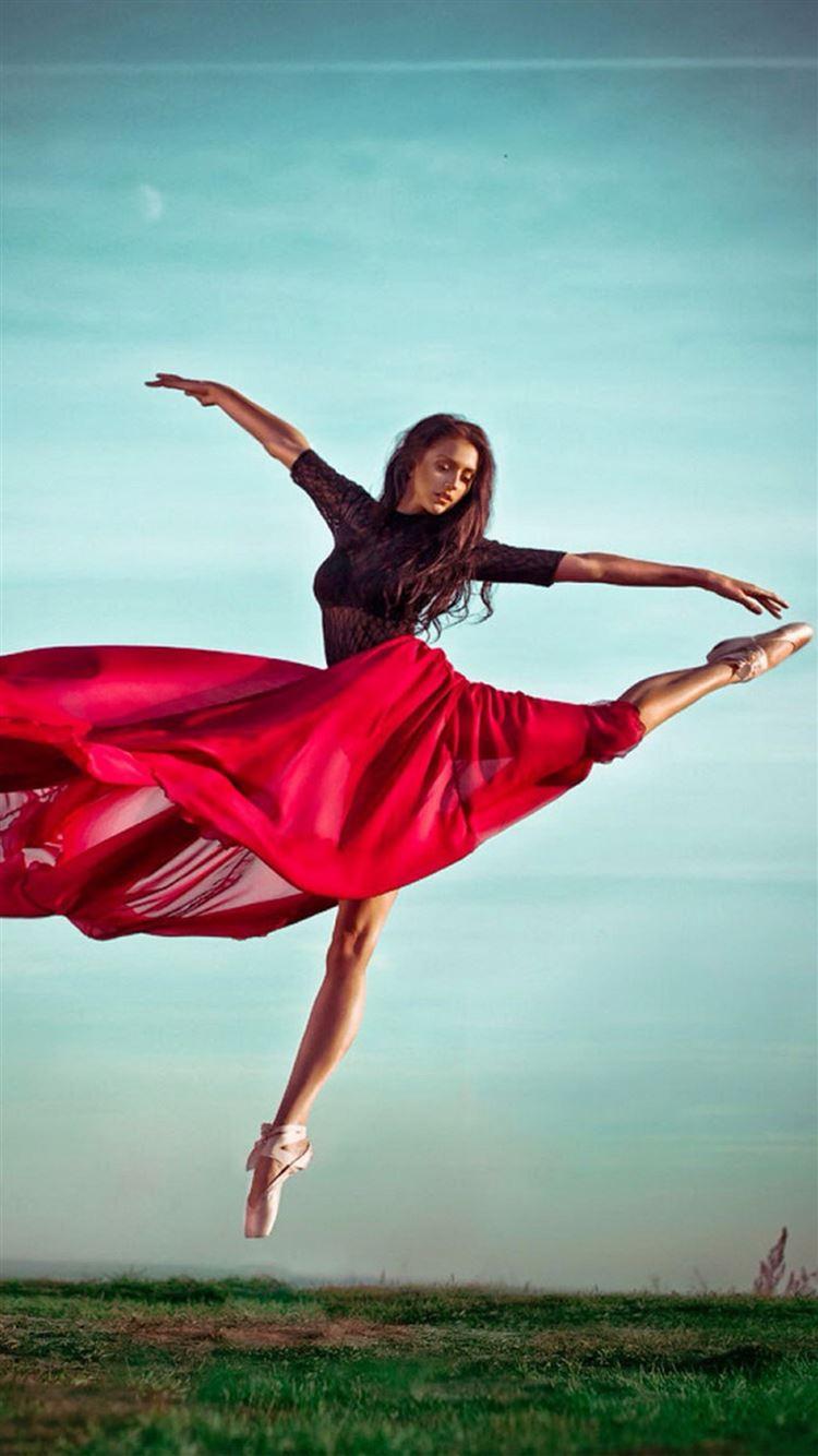 Ballet Dancer Red Dress Iphone 8 Wallpapers Free Download