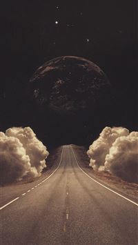 Surreal Art Collage Road Clouds Planet iPhone 6(s)~8(s) wallpaper