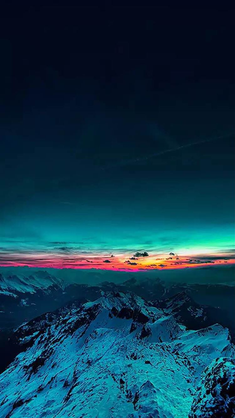 Sky On Fire Mountain Range Sunset Iphone 8 Wallpapers Free