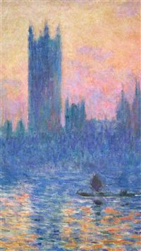 Claude Monet Classic Painting Art Sunset Pattern iPhone 6(s)~8(s) wallpaper