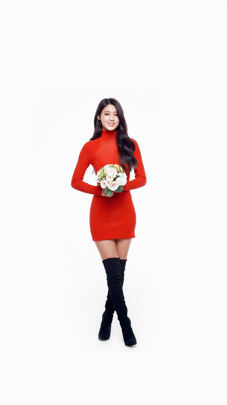Seolhyun Aoa Red Christmas Cute Music White iPhone 8 Wallpaper ...