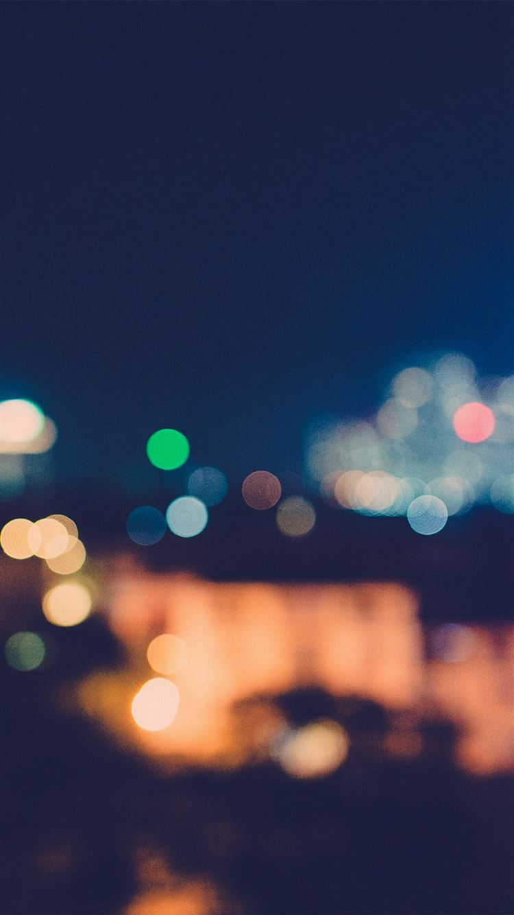 Bokeh City Night Light Art Blue Pattern Iphone 8 Wallpapers
