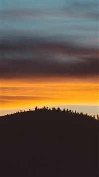 Sky Sunset Mountain Red Nature iPhone wallpaper
