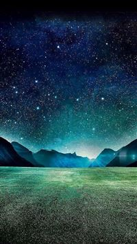 Dark Night Starry Shiny Mountain Grass Field iPhone 6(s)~8(s) wallpaper