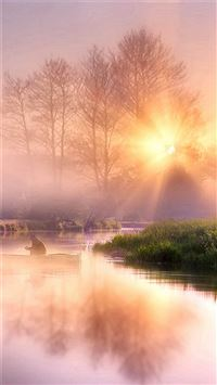Morning Misty lake Pure Scenery iPhone 6 wallpaper