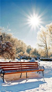 Winter Snowy Sunshine Bright Bench Park iPhone 6(s)~8(s) wallpaper