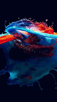 Paint Splash Art Illust Dark Blue Red Watercolor iPhone 6(s)~8(s) wallpaper
