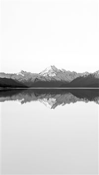 Reflection Lake Blue Mountain Water River Bw White iPhone 6(s)~8(s) wallpaper