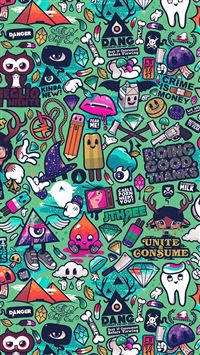 Art Work Pattern Illustration Graffiti Green iPhone 6(s)~8(s) wallpaper