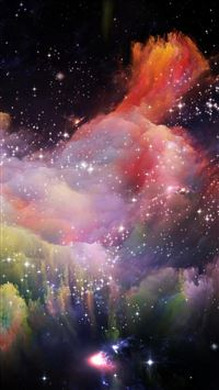 Space Rainbow Colorful Star Art Illustration iPhone 6(s)~8(s) wallpaper