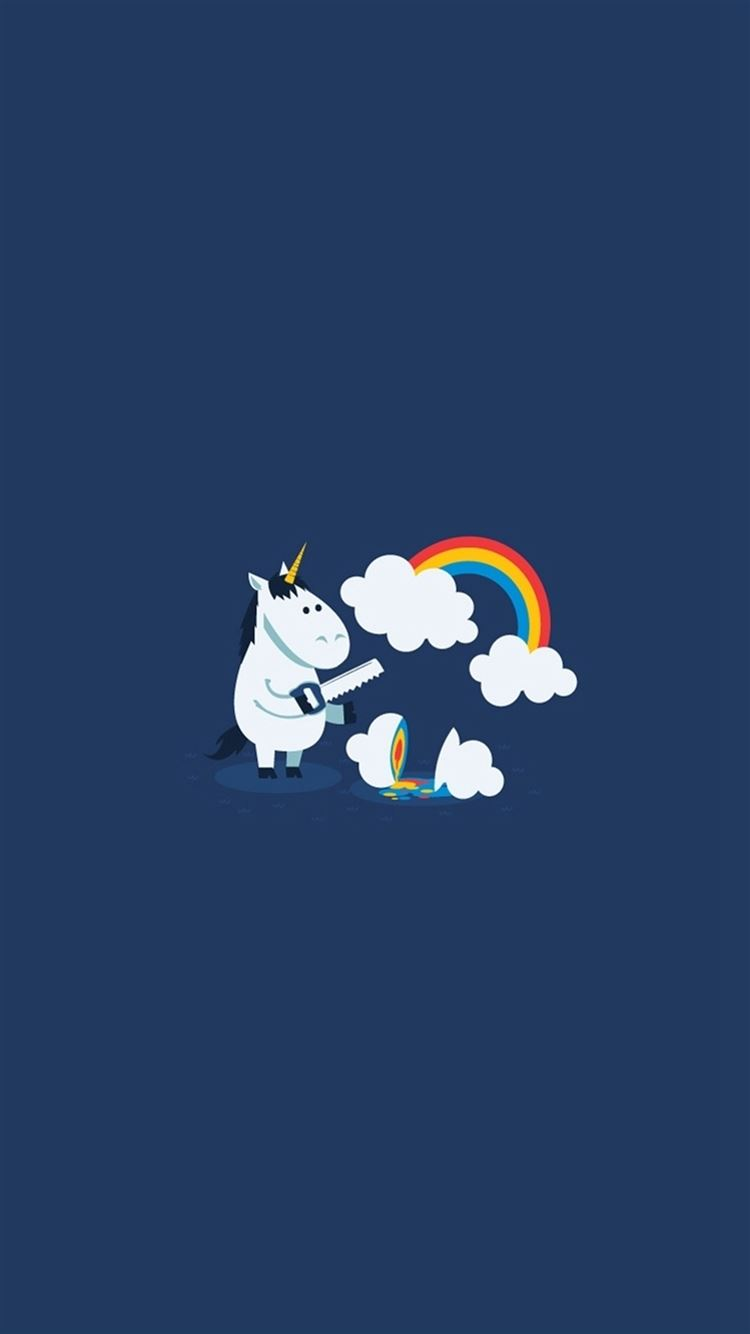 Unicorn Saw Clouds Rainbow Funny Iphone 8 Wallpapers Free