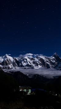 Mountain Snow Dark Winter Sky Star iPhone 6 wallpaper