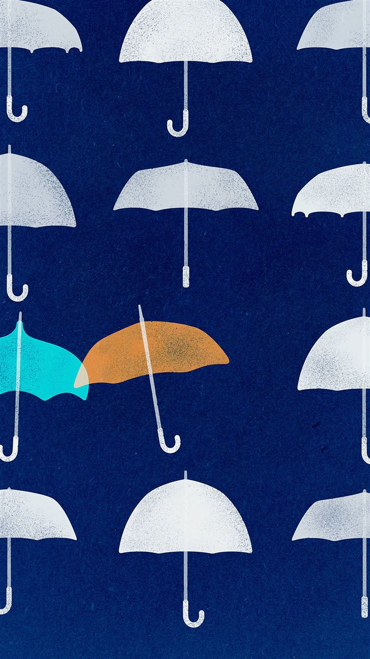 Blue Umbrella Cute Minimal Art Disney Iphone 8 Wallpapers