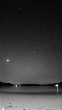 Night Beach Sea Vacation Nature Star Sky Dark Bw iPhone 6(s)~8(s) wallpaper
