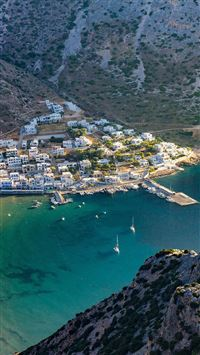 Greece Beach Town Sea Mountain Summer Vacation iPhone 6(s)~8(s) wallpaper