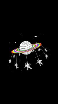 Astronauts Merry Go Round Planet Space iPhone 6(s)~8(s) wallpaper