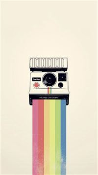 Polaroid Camera Colorful Rainbow Illustration iPhone 6(s)~8(s) wallpaper