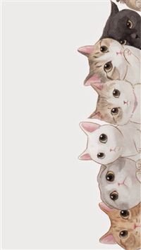 Cute Cats Vertical Aligned Illustration iPhone 6(s)~8(s) wallpaper