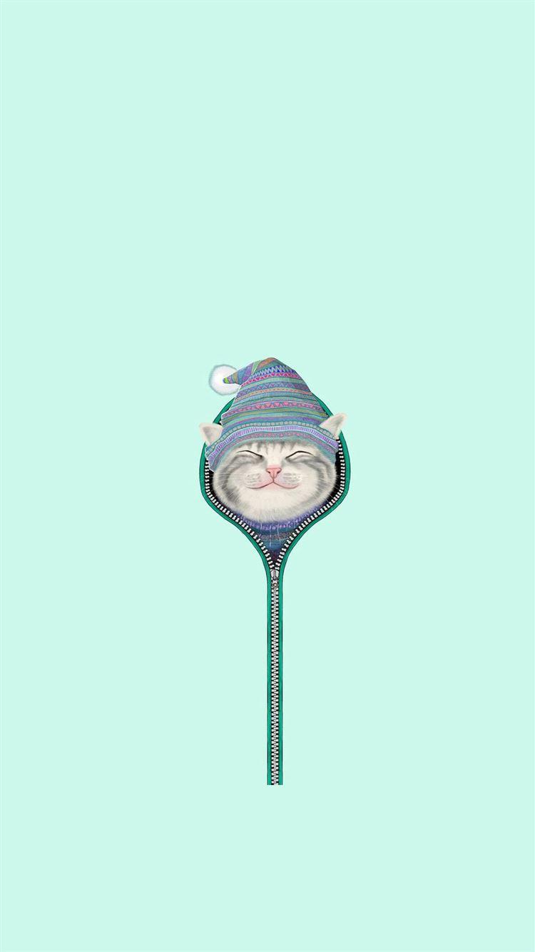 Funny Cat Zipper Fur Cap Hat Iphone 8 Wallpapers Free Download