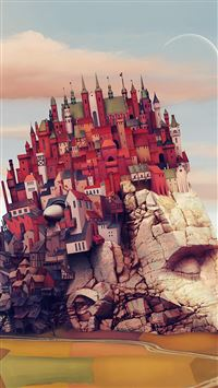 Castle Art Illustraion Mountain Color iPhone 6(s)~8(s) wallpaper
