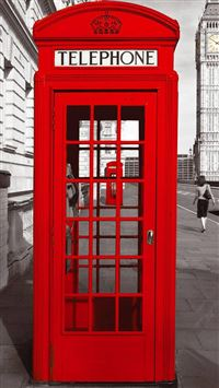 England City Street Red Telephone Booth iPhone 6(s)~8(s) wallpaper