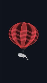 Cute Illustration Whale Balloon Art Dark iPhone 6(s)~8(s) wallpaper
