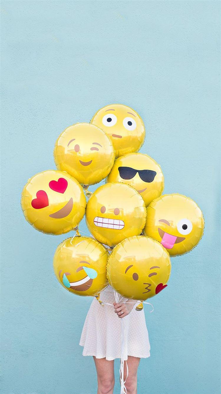 Abstract Funny Cute Emoji Balloons Iphone 8 Wallpaper
