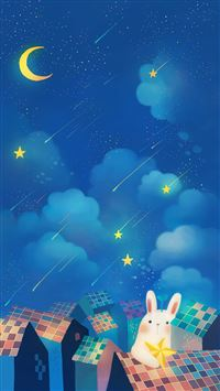 Romantic Night Moon Star Clouds Sky Rabbit House Top iPhone 6(s)~8(s) wallpaper
