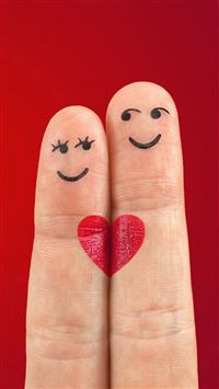 Lovely Love Heart Shaped Fingers Couple iPhone 6(s)~8(s) wallpaper
