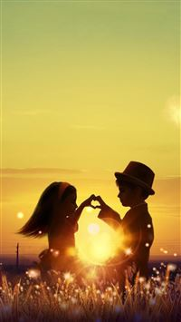 Sunset Love Cute Kids Couple Sunlight Flowers Field iPhone 6(s)~8(s) wallpaper
