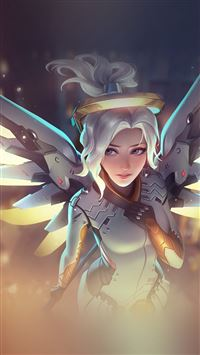 Mercy Overwatch Angel Healer Game Art Illustration iPhone 6(s)~8(s) wallpaper