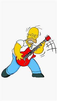 Homer Simpson Guitar Cartoon Illustration Art iPhone 6(s)~8(s) wallpaper