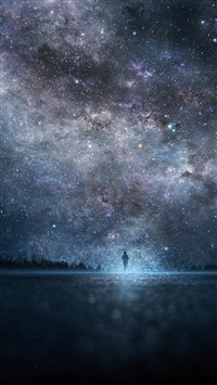 Amazing Shiny Starry Skyscape Lonely Man Shadow iPhone 6(s)~8(s) wallpaper