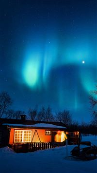 Aurora Canada House Night Winter Mountain Sky iPhone 6(s)~8(s) wallpaper