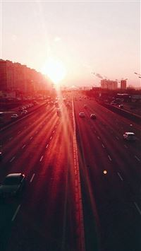 City Sunset Road Car Red Flare iPhone 6 wallpaper
