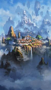 Cloud Town Fantasy Anime Illustration Art iPhone 6 wallpaper