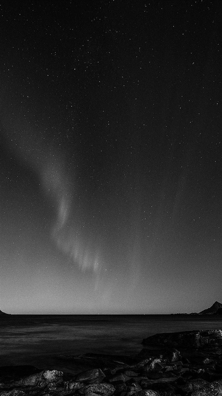 Aurora Night Sky Star Beautiful Space Sea Dark Bw Iphone 8