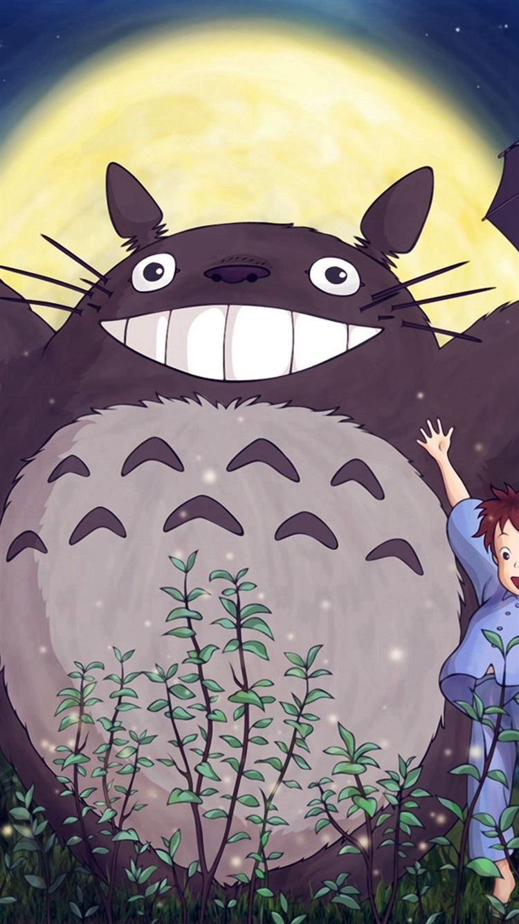 Totoro Forest Anime Cute Illustration Art Blue Iphone 8 Wallpapers