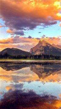 Mountain Lake Sunset Nature Summer iPhone 6(s)~8(s) wallpaper