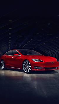 2016 Red Tesla Model S No Grill iPhone 6(s)~8(s) wallpaper