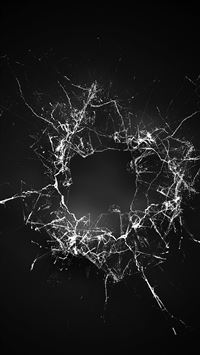 Crack Glass Dark Bw Texture Pattern iPhone 6(s)~8(s) wallpaper