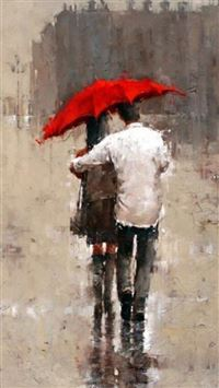 Rainy Romantic Lover Couple Back Art iPhone 6(s)~8(s) wallpaper