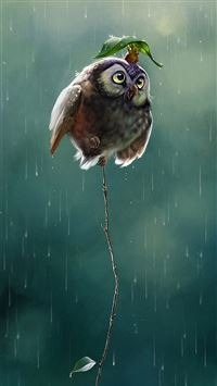 Cute Owl Flying High Rainy Day Covering Leaf iPhone 6(s)~8(s) wallpaper