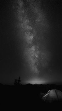 Camping Night Star Galaxy Milky Sky Dark Space Bw iPhone 6(s)~8(s) wallpaper