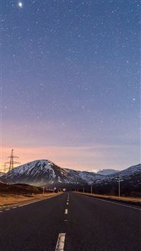 Sky Star Lovely Road Street Mountain Winter Nature iPhone 6(s)~8(s) wallpaper