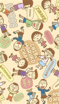Chibi Maruko Cartoon Pattern Background iPhone 6 wallpaper