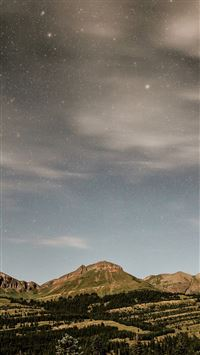 Night Mountain Sky Star Summer Nature iPhone 6(s)~8(s) wallpaper
