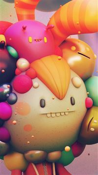 Cute Monster Character 3d Illustration Art iPhone 6(s)~8(s) wallpaper